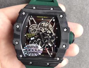 KV厂理查德米勒RM-035镂空机械绿色硅胶带男款手表