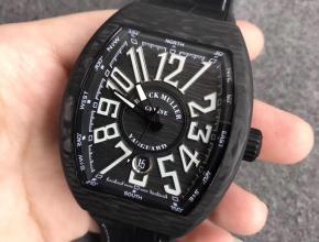 FM法兰克碳纤维大表盘酒桶型机械表白字全自动机械尼龙带男款手表