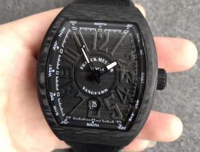 FM法兰克碳纤维大表盘酒桶型机械表黑字升级版男款手表