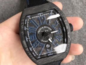 FM法兰克碳纤维大表盘酒桶型机械表蓝字男款手表