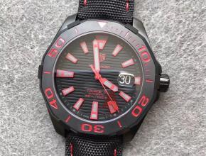 V6豪雅300米竞潜系列酷黑配红色刻度深度防水