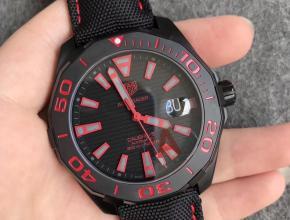 V6厂豪雅300米竞潜系列酷黑配红色刻度深度防水