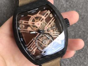 FM法兰克穆勒红魔碳纤维陀飞轮复古表带男款手表
