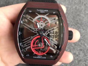 FM法兰克穆勒先锋系列红魔碳纤维陀飞轮黑色表带男款手表