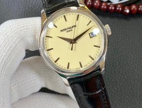 百达翡丽18K铂金机械复刻表真金不掉色男士腕表带证书