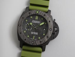 vs厂沛纳海pam00961碳纤维军绿色男士硬朗帅气运动腕表