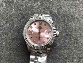 高仿劳力士女表日志28毫米机械手表粉色表盘