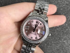 复刻劳力士女表日志28毫米圈钻机械手表粉色表盘