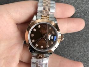 复刻劳力士女士手表日志28毫米机械光圈玫瑰金咖啡色表盘钻刻度
