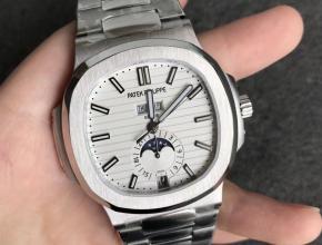 V9百达翡丽顶级高仿鹦鹉螺5726男士机械手表白色表盘