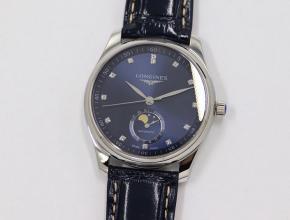 GS厂浪琴复刻手表名匠系列月相腕表蓝盘钻刻度