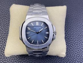 3K厂顶级百达翡丽复刻手表鹦鹉螺324SC超薄机械白钢蓝盘