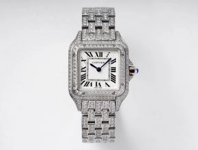 卡地亚顶级复刻手表猎豹满钻系列女士钢带机械白盘腕表