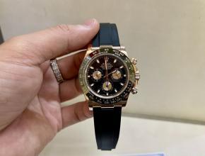 劳力士顶级复刻手表迪通拿系列陶瓷圈男士玫瑰金机械腕表