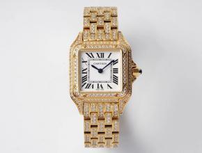 卡地亚顶级复刻手表猎豹满钻系列女士黄金机械钢带腕表