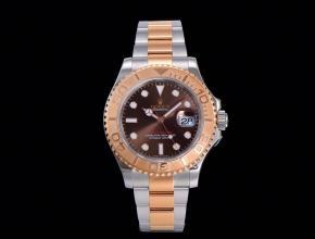 劳力士顶级精仿手表游艇系列间玫瑰金男士机械钢带棕面腕表