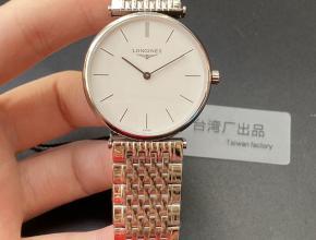 浪琴顶级复刻手表超薄嘉岚系列精品情侣对表石英白盘钢带腕表