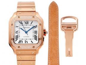 卡地亚顶级高仿手表山度士系列女士钢带白盘钻石玫瑰金腕表
