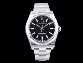 劳力士顶级复刻手表蚝式恒动系列男士机械黑盘钢带腕表