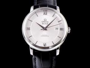 欧米茄顶级高仿手表碟飞复商务系列男士机械超薄手表黑皮白面