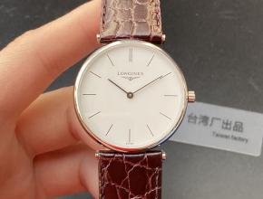 浪琴顶级复刻手表超薄嘉岚系列精品情侣对表石英白盘皮带腕表