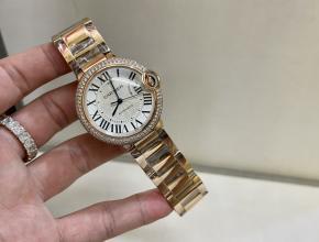 卡地亚顶级精仿手表蓝气球系列女士金表钻石钢带腕表