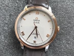 欧米茄顶级复刻手表蝶飞系列白面皮带男士机械腕表