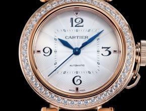 卡地亚顶级复刻手表Pasha系列女士全自动机械白面玫瑰金腕表
