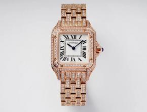 卡地亚顶级高仿手表猎豹满钻系列女士钢带机械玫瑰金腕表