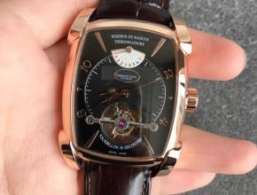 复刻帕玛强尼手表陀飞轮顶级男士方形手表玫瑰金黑盘