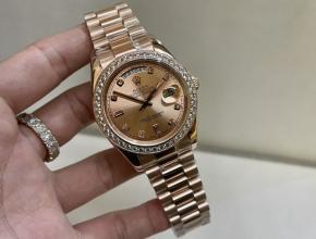 劳力士顶级精仿手表日志系列玫瑰金款真金真钻男士机械腕表