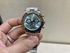 劳力士顶级复刻手表迪通拿系列男士冰蓝迪机械钢带腕表