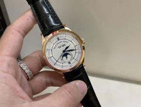 百达翡丽高仿手表复杂月历日历星期系列男士皮带机械玫瑰金腕表