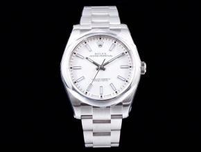 劳力士顶级高仿手表蚝式恒动系列男士机械白盘钢带腕表