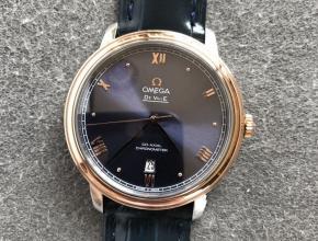 欧米茄顶级高仿手表蝶飞系列男士蓝盘皮带机械腕表