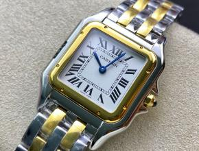 卡地亚顶级复刻手表猎豹系列女士石英间金钢带手表