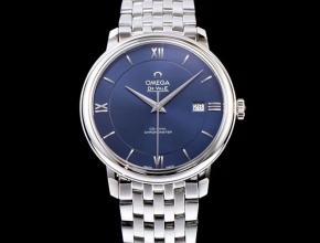 高仿欧米茄顶级手表碟飞系列男士机械超薄手表白钢蓝色面