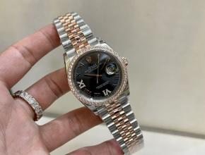 劳力士顶级高仿手表日志款间金玫瑰金女士黑盘机械钻石腕表