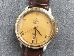 欧米茄顶级复刻手表蝶飞系列男士金盘皮带机械腕表