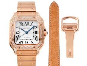 卡地亚顶级复刻手表山度士系列女士钢带钻石白盘玫瑰金腕表