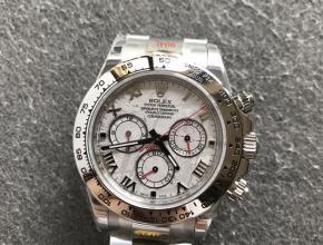 劳力士顶级精仿手表白金迪通拿系列陨石面男士机械钢带腕表