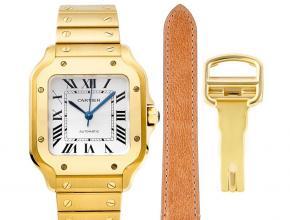 卡地亚顶级精仿手表山度士系列女士钢带白盘金表腕表
