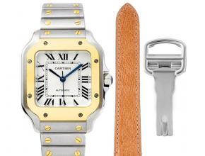卡地亚顶级复刻手表山度士系列女士钢带白盘间金腕表