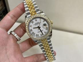 劳力士顶级复刻手表日志款男士间金机械钢带腕表