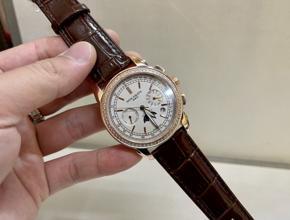 顶级复刻手表百达翡丽 复杂计时功能 男款真金真钻皮带腕表