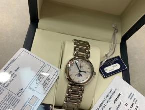 顶级复刻手表浪琴女款白盘钢带真金真钻心月系列月相腕表