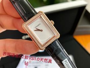 顶级复刻手表香奈儿女款白盘黑带石英皮带腕表