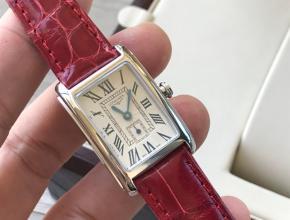 顶级复刻手表浪琴女款白盘红带黛绰维纳鳄鱼皮系列腕表