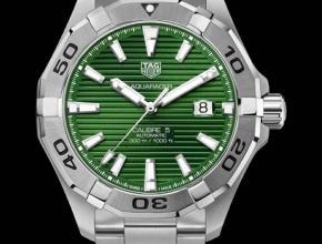 顶级复刻手表泰格豪雅男款绿盘钢带竞潜系列机械腕表