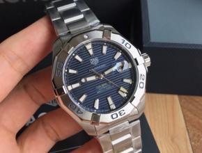 顶级复刻手表泰格豪雅男款蓝盘钢带竞潜系列机械表